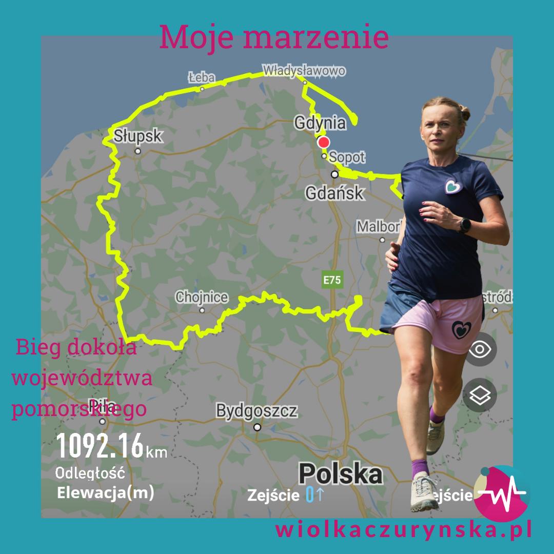 Wstępna trasa biegu dookoła województwa pomorskiego.