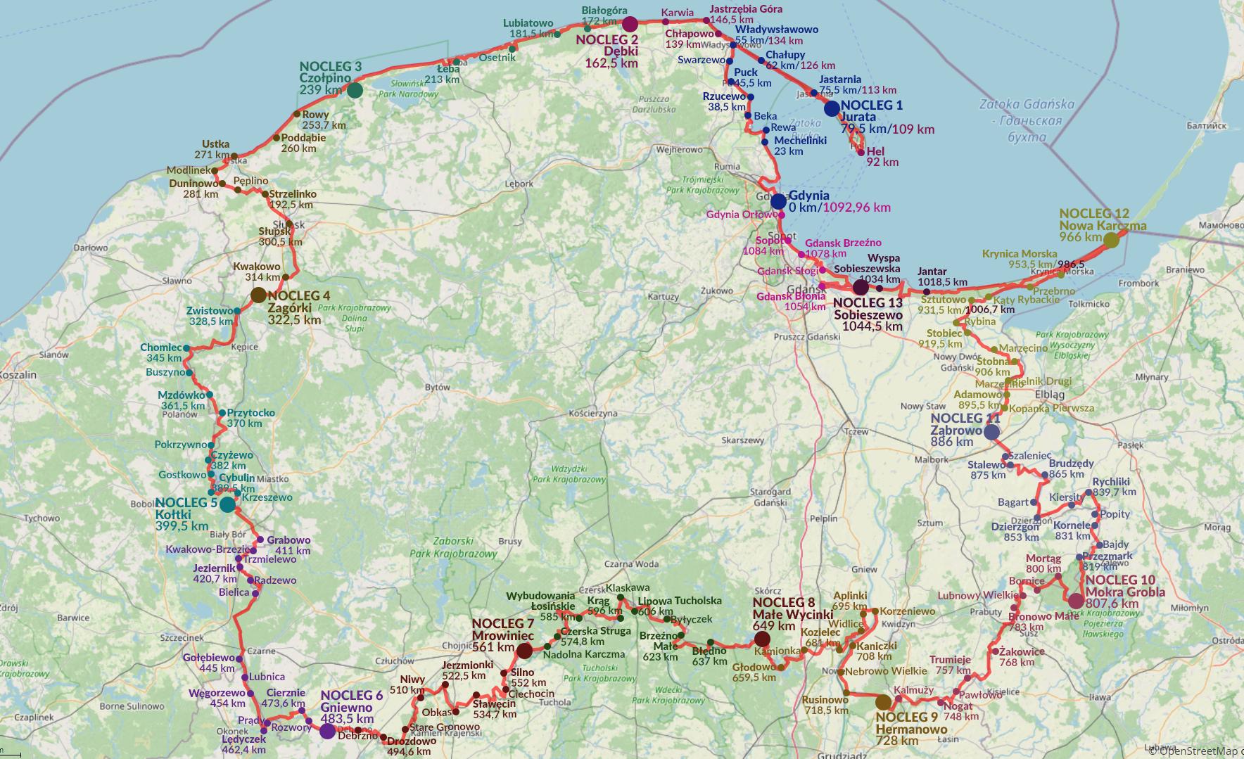 mapa biegu dookola wojewodztwa pomorskiego, grafika Agnieszka Glodawska